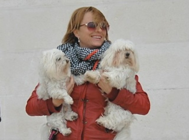 Daniela Lučić pictured with two of her beloved Maltese terriers, 2014.
